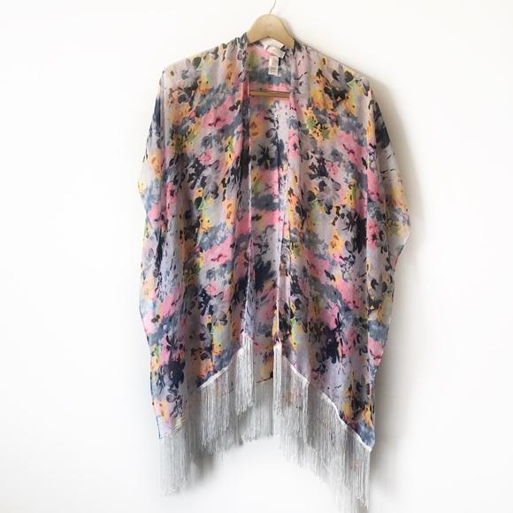 c503efe194d35 Swim | Suit Coverup Kimono Boho Chic Sheer Fringed | Poshmark